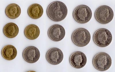 монеты Швейцарии продажа - франки чентезимо, сантимы, рапы