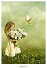 Pureza con flores blancas...  infancia feliz...