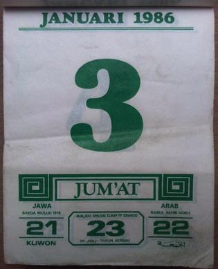 Kalender harian dengan cover depan gambar oriental tahun 1986. Ada