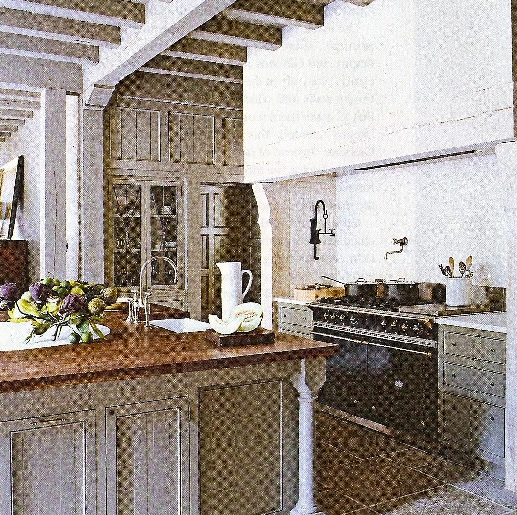Gray Kitchen Cabinets Butcher Block Island