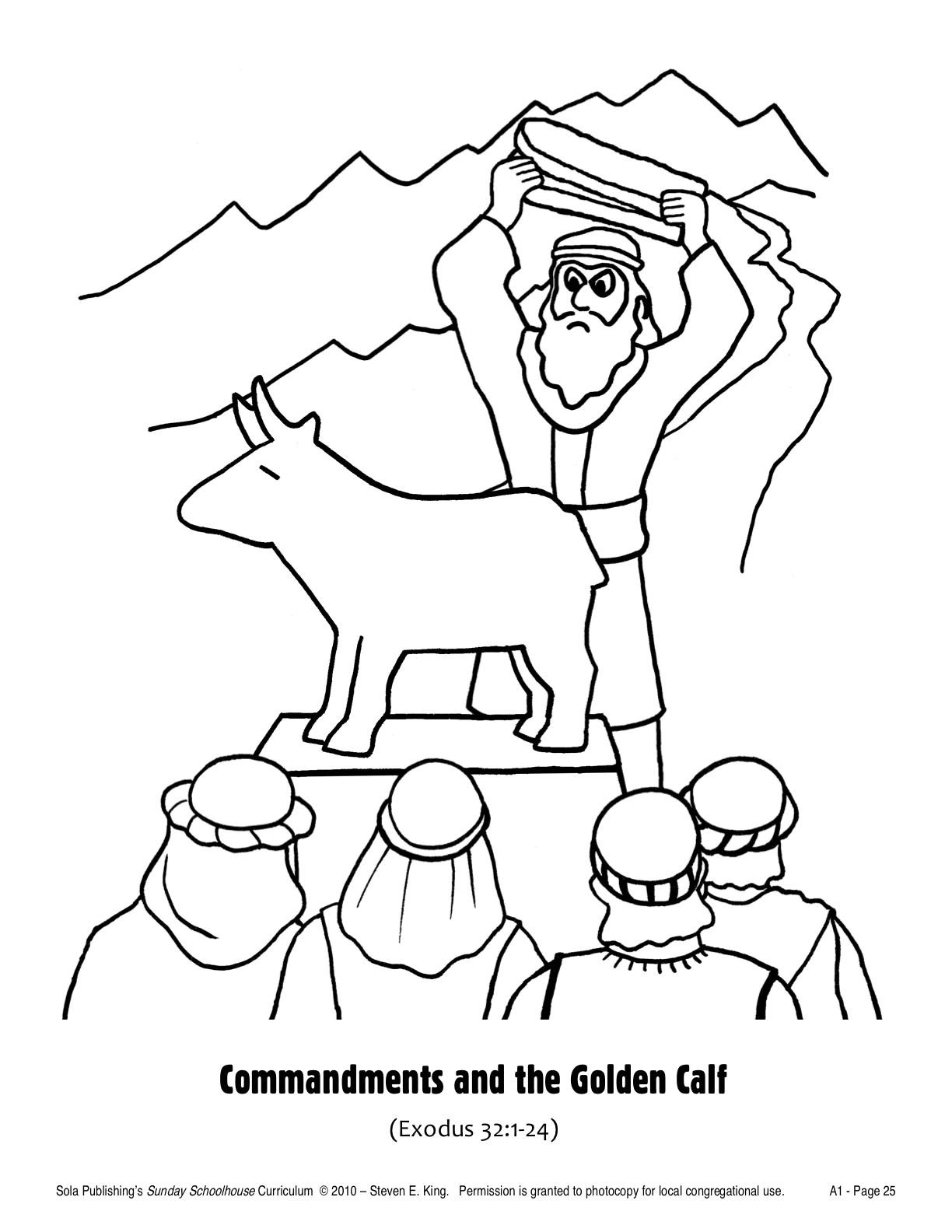 the golden calf coloring page sola sunday school archive october 2010
