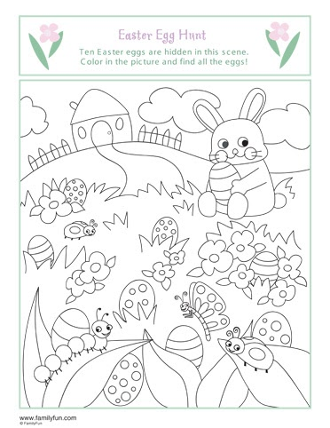 Have fun learning English EASTER EGG HUNT COLORING