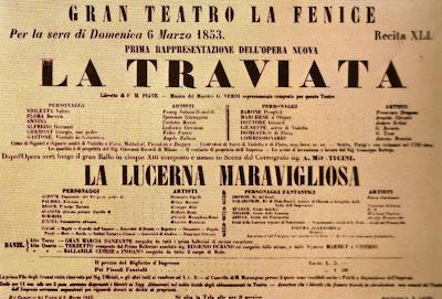 Cartell anunciador de l'estrena de `La Traviata´ al Teatre de La Fenicie (Venècia, 1853)