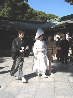 Bride and groom at Meiji Jingu, Tokyo.
