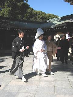 Bride and groom at Meiji Jingu, Tokyo.