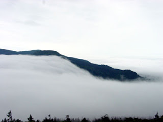 Okama Lake covered by clouds, September.