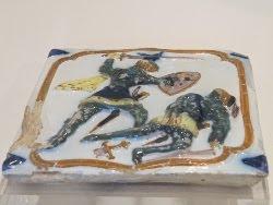 War scene on tile in the National Tile Museum, Lisbon.