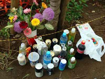 A makeshift shrine at the site of the attacks in Akihabara