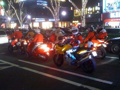 Santa on a motorbike, Tokyo.