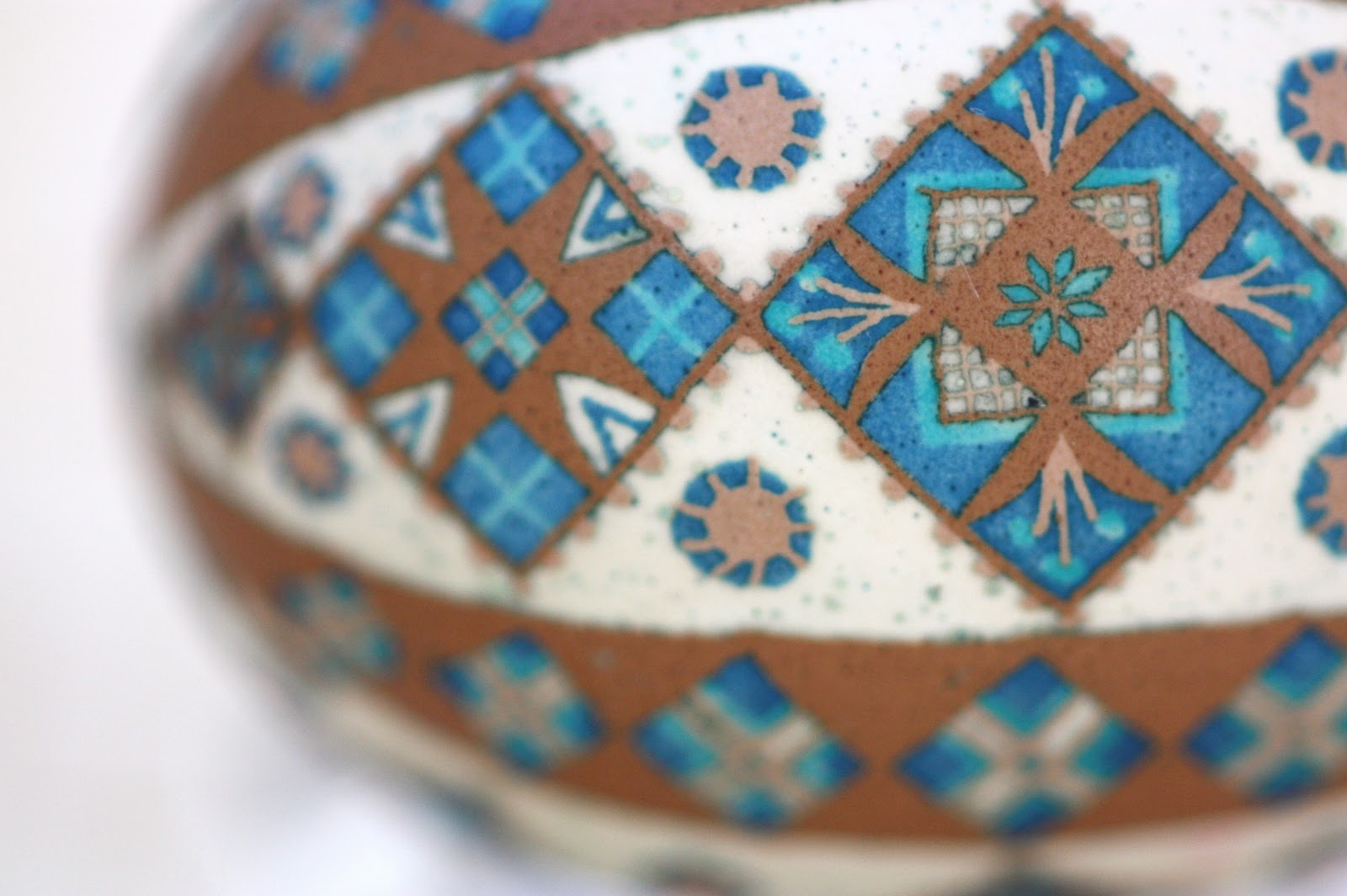 Brown Chicken Pysanky Etched and Dyed with Traditional Design in Blues