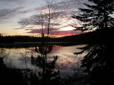 Late October sunrise Bow Narrows Camp on Red Lake, Ontario