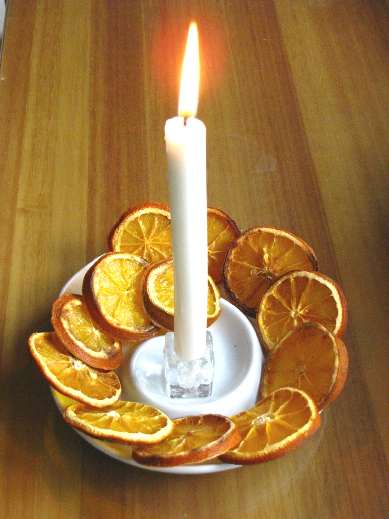 A simple christmas table candle ornament handmade holiday for Christmas candles and ornaments