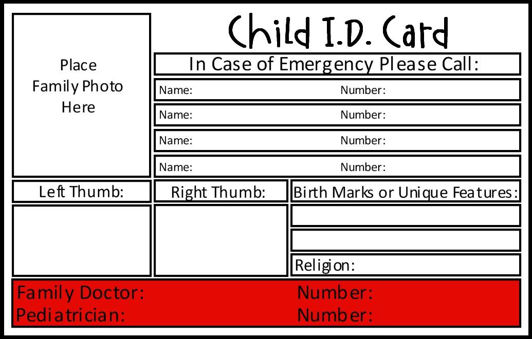 free printable id card template