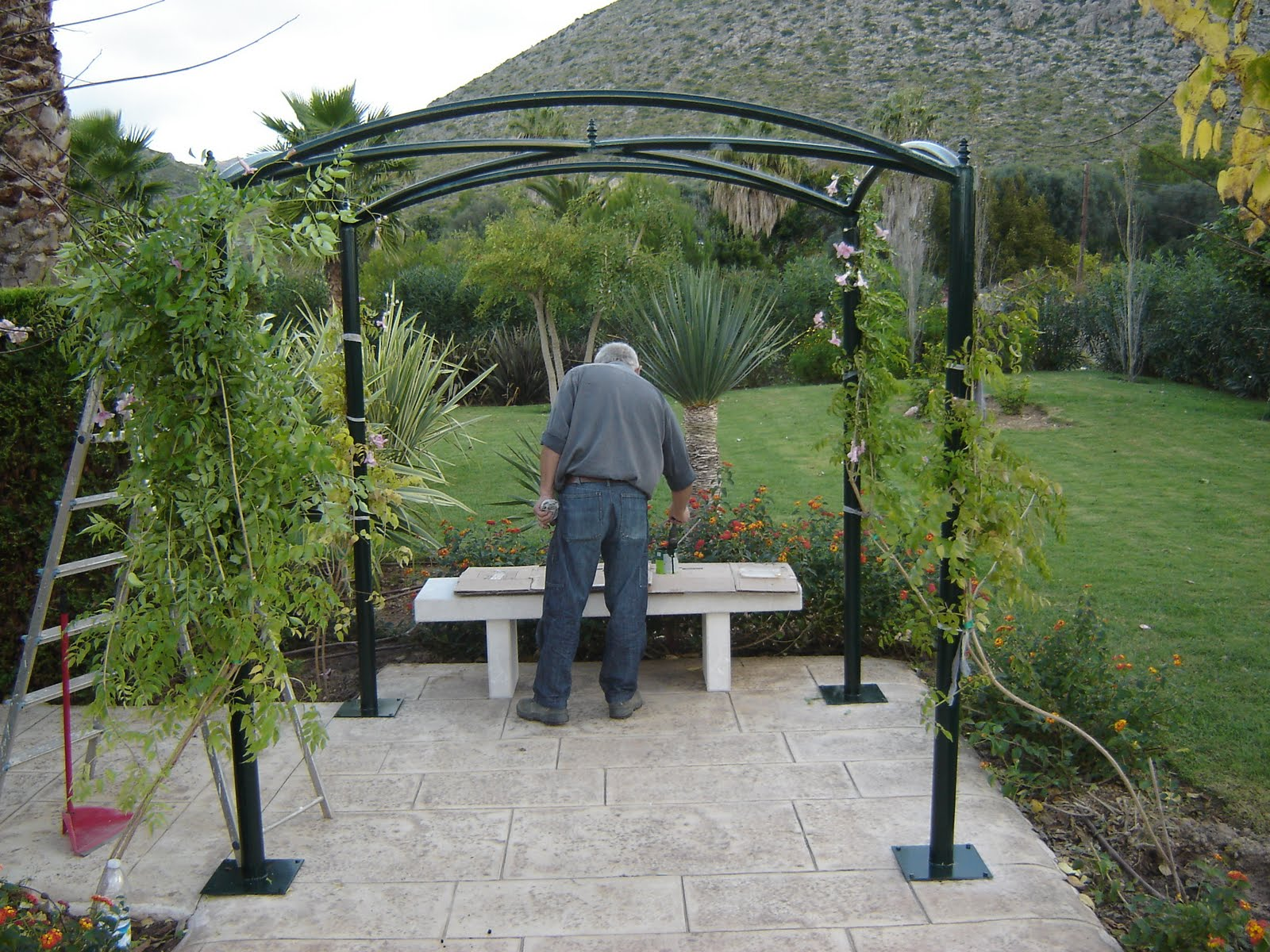 Modelo pergolas metalicas minimalist for Pergolas de hierro para jardin