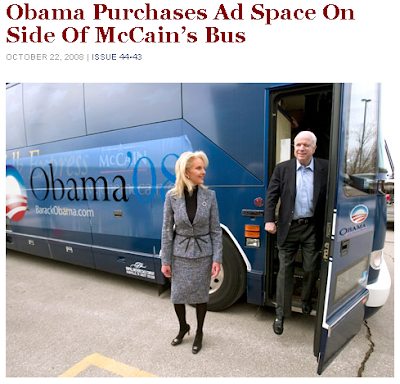 Obama Ad on McCain's Bus (wink)