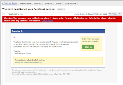 Fake Facebook phishing email