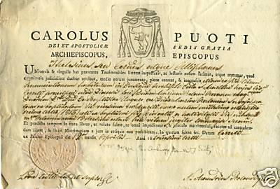 Arcivescovo Carolus Puoti di Castrum Komne Comneno Paleologo