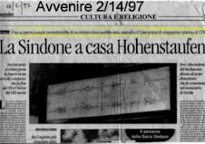 La Sindone a Casa Hohenstaufen  -Avvenire 2.14.97