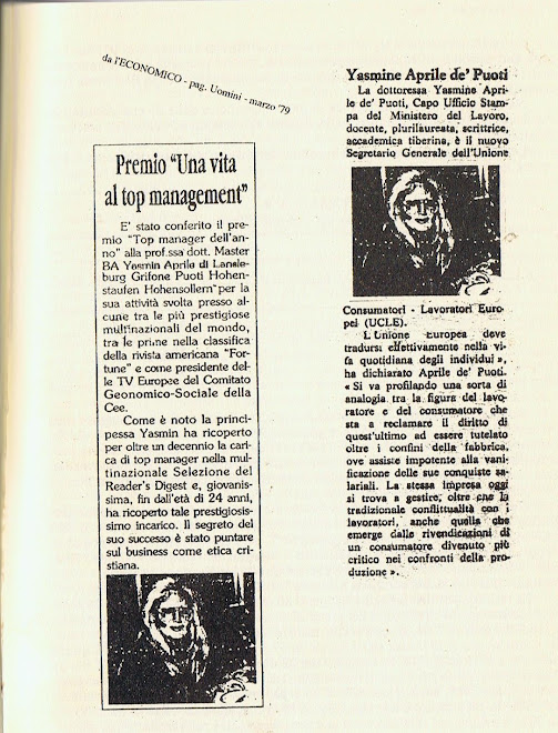 "Principessa Yasmin von Hohenstaufen giornalista"" La Stampa""   President Reader's Digest CBB MEMBER"
