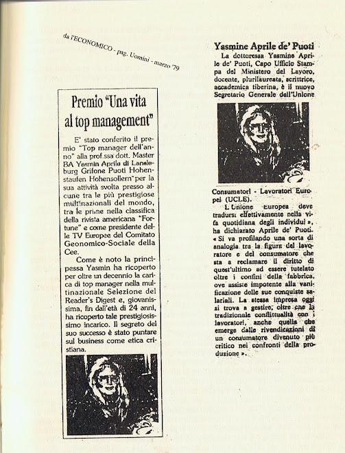 """Principessa Yasmin von Hohenstaufen giornalista"""" La Stampa""""   President Reader's Digest CBB MEMBER"""