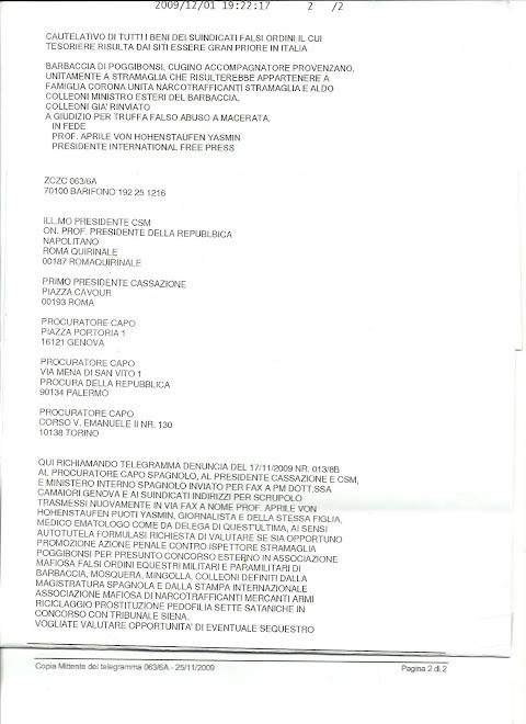 Denuncia querela contro Tribunale Siena  presunto favoreggiamento Clan Provenzano, mafia ,sette