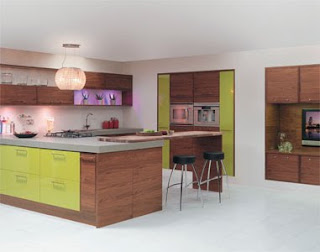 Contemporary kitchen with modern chrome cupboard handles