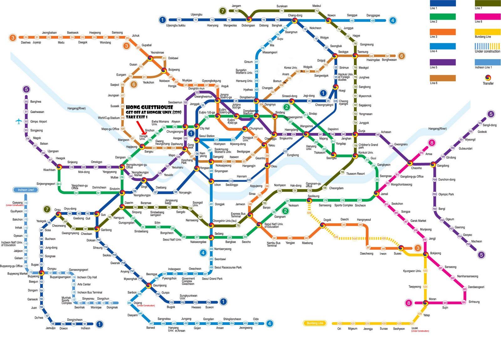 TRAVEL TO KOREA: seoul MRT map