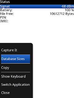 Blackberry Database Sizes