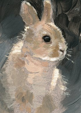 bunny painting aceo