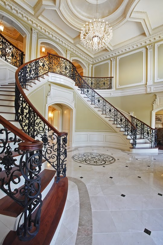 Beautiful double curved staircases in new york luxury for Luxury staircases