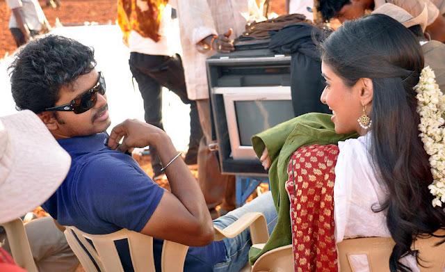 Vijay and Asin in Kavalkaran shooting