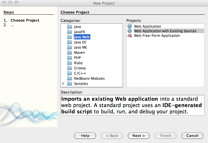 Download and Install NetBeans 6.9.1. Create a new Web Project from Existing