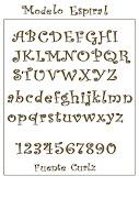 Para componer el nombre de Lucía hemos utilizado las letras del modelo . alfabeto modelo espiral fuente curlz