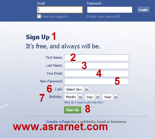 تسجيل دخول فيس بوك عربى http://www.asrarnet.com/2010/07/registration-on-facebook.html
