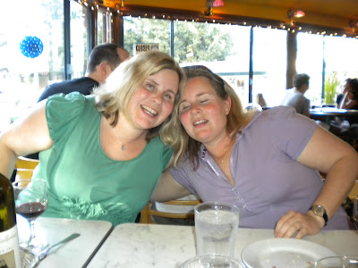 Sara and Stacy at dinner