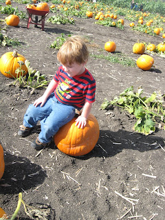 Brian sitting on a big pumpkin