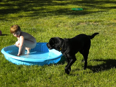 Naked Brian in the kiddie pool with Dagan walking by looking at him
