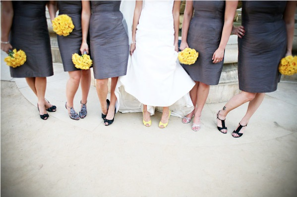 I love the yellow gray color combination they chose for the bridesmaids