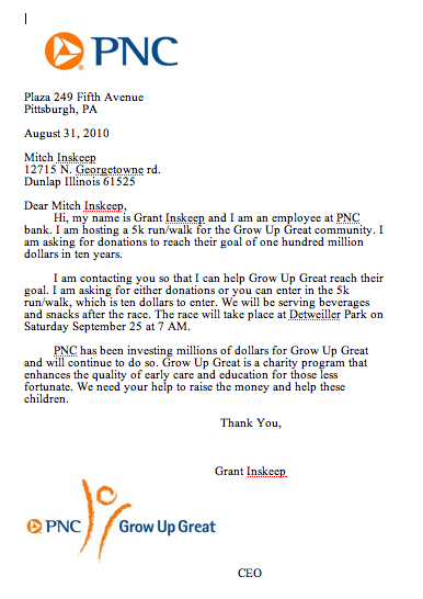 How to write a letter for charity