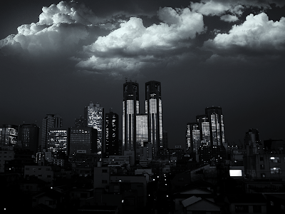 Black and White Clouds City wallpaper