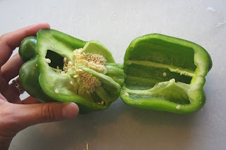 bell pepper cut open with seeds intact