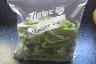 frozen bell peppers in ziplok bag