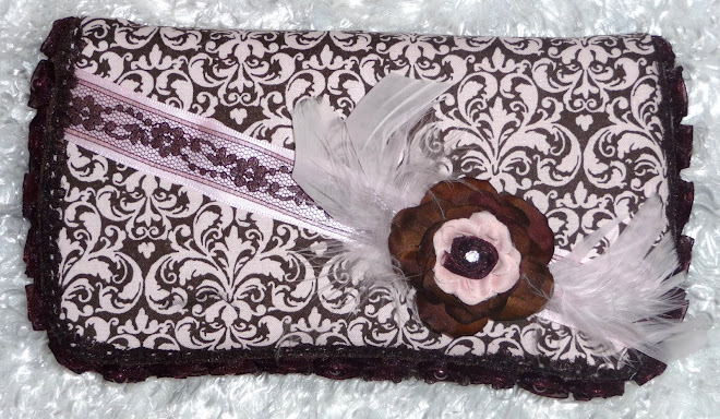 PRiNceSS PiNk & BRowNie DaMasK  RoSeBuD FeaTHeRs & LaCe GiRL's WiPe CaSe