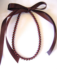RicH cHoCoLaTe BRowNie 8mm PeaRL & RiBBoN NecKLaCe