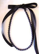 BLaCk BeauTy 8mm PeaRL & RiBBoN NecKLaCe