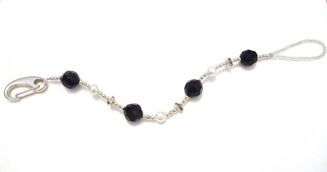 BLacK BeAuTy cRysTaL & HeaVeNLy wHiTe PeaRL BiNky cLiP