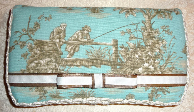 Too CuTe ToiLe BLuE & BRowN & cReaM uNiSeX WiPee CaSe w/ TuXeDo BoW