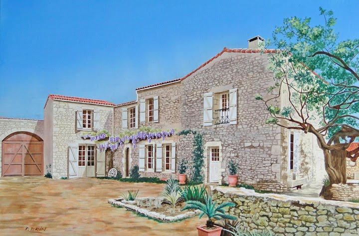 Pierjac17 maison dolus acrylique 81 x 54 for Peinture acrylique maison