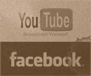 YouTube Facebook en blanco y negro viejos