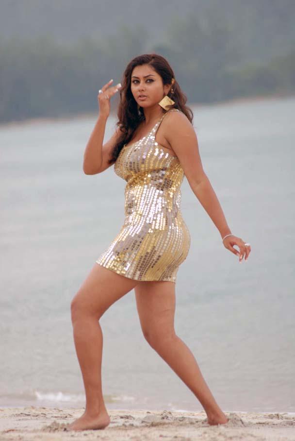 Namitha Hot Beach Pics in Golden Dress
